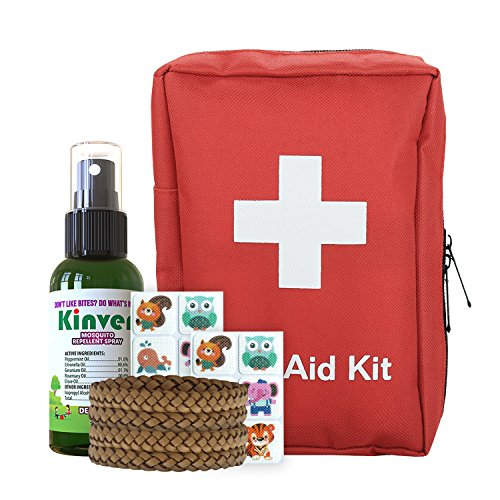 First Aid Kit and Mosquito Repellant Family Bundle – with 72 piece Emergency Kit, Kinven 2oz spray, 4 bracelets, 2 anti-mosquito patch sets, Mosquito Net Not Needed